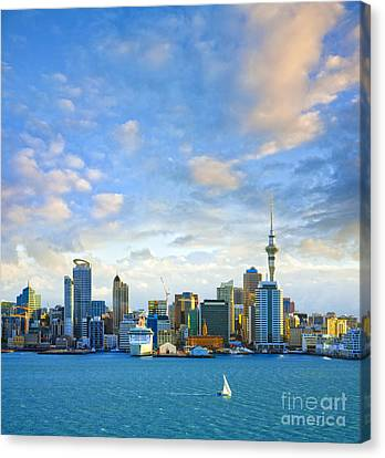 Auckland Canvas Print - New Zealand Auckland Skyline At Sunset by Colin and Linda McKie