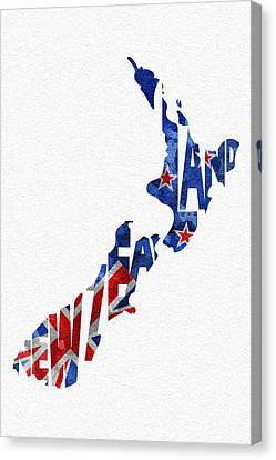 New Zealand Typographic Map Flag Canvas Print