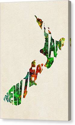 New Zealand Typographic Watercolor Map Canvas Print by Ayse Deniz