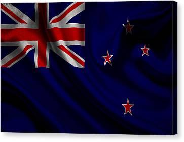 New Zealands Flag Waving On Canvas Canvas Print by Eti Reid