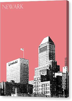 Newark Skyline - Salmon Canvas Print by DB Artist