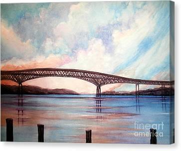 Newburgh Beacon Bridge Sky  Canvas Print by Janine Riley