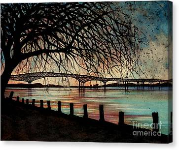 Newburgh Beacon Bridge Sunset Canvas Print by Janine Riley