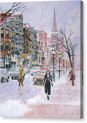 Newbury Street Flurries Canvas Print
