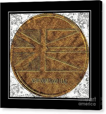 Newfoundland Flag - Brass Etching Canvas Print
