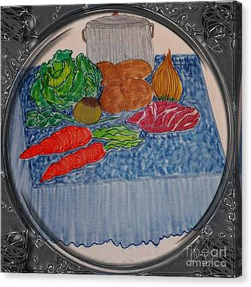 Newfoundland Jiggs Dinner - Porthole Vignette Canvas Print by Barbara Griffin