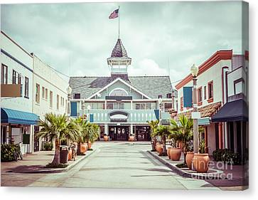 Newport Beach Balboa Main Street Vintage Picture Canvas Print by Paul Velgos