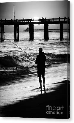 Newport Beach California  Sunset Fishing Picture Canvas Print by Paul Velgos
