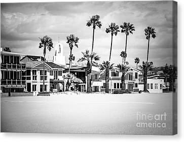 Newport Beach Oceanfront Homes Black And White Picture Canvas Print by Paul Velgos