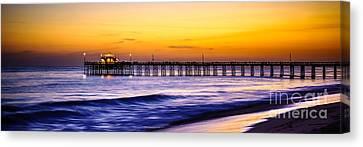 Newport Beach Pier Panorama Sunset Photo Canvas Print by Paul Velgos