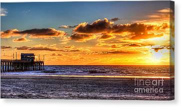 Canvas Print featuring the photograph Newport Beach Pier - Sunset by Jim Carrell