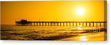 Newport Beach Pier Sunset Panoramic Photo Canvas Print by Paul Velgos