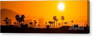 Newport Beach Skyline Sunrise Panorama Photo Canvas Print by Paul Velgos