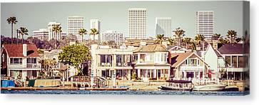 Newport Beach Skyline Vintage Panorama Canvas Print by Paul Velgos