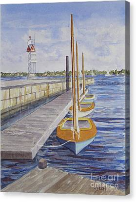 Canvas Print featuring the painting Newport Boats In Waiting by Carol Flagg