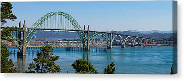 Canvas Print featuring the tapestry - textile Newport Bridge by Dennis Bucklin