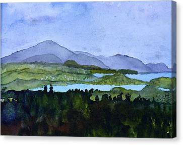 Canvas Print featuring the painting Newport From Brownington Lookout by Donna Walsh