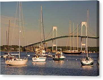 Newport Harbor With Pell Bridge Canvas Print