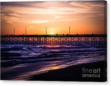 Newport Pier Sunset In Newport Beach California Canvas Print by Paul Velgos