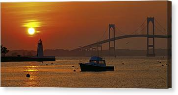 Newport Sunset Canvas Print by Lou Ford