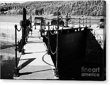 Newry Ship Canal Lock Gates And Controls At The Newly Refurbished Victoria Lock At Carlingford Lough Canvas Print by Joe Fox