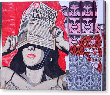Canvas Print featuring the photograph Shepard Fairey Graffiti Andre The Giant And His Posse Wall Mural by Kathy Barney