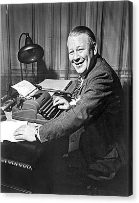 Newspaper Reporter At Work Canvas Print by Underwood Archives