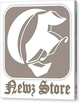 Canvas Print featuring the drawing Eclipse Newspaper Store Logo by Dawn Sperry