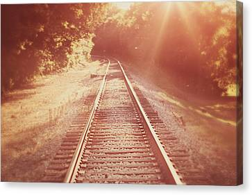 Vintage Trains Canvas Print - Next Stop Home by Amy Tyler