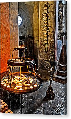 Next To Altar. Burning Candles. Coins. Skull And Crossbones. Canvas Print by Andy Za