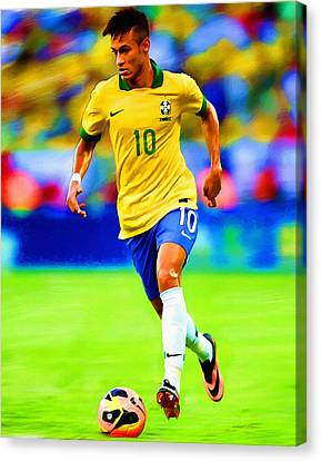 Neymar Soccer Football Art Portrait Painting Canvas Print by Andres Ramos