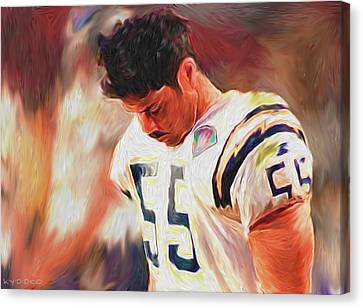 Nfl - Junior Seau Canvas Print by Tyler Watts - KyddCo