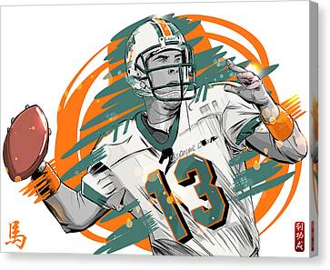 Nfl Legends Dan Marino Miami Dolphins Canvas Print by Akyanyme