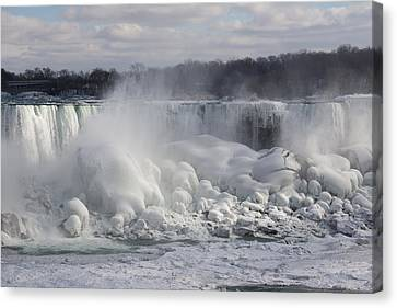 Niagara Falls Awesome Ice Buildup - American Falls New York State Usa Canvas Print by Georgia Mizuleva
