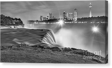 Niagara Falls Black And White Starbursts Canvas Print by Adam Jewell