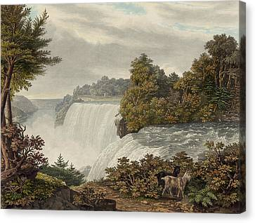 Fall Grass Canvas Print - Niagara Falls Circa 1829 by Aged Pixel