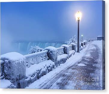 Niagara Falls City Wintertime Scenery Canvas Print by Oleksiy Maksymenko