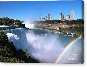 Canvas Print featuring the photograph Niagara Falls Double Rainbow by Jemmy Archer