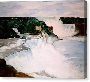 Canvas Print featuring the painting Niagara Falls by Ellen Canfield