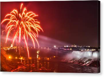 Niagara Falls Fireworks Canvas Print by James Wheeler