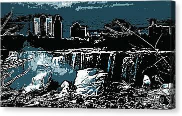 Niagara Falls Frozen At Night Canvas Print by Miss Dawn