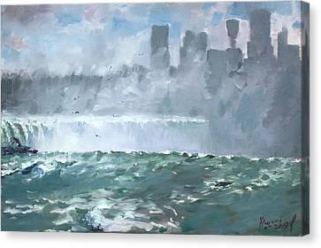 Niagara  Falls Mist  Canvas Print by Ylli Haruni