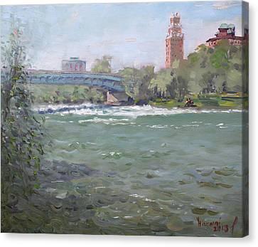 Niagara Falls River Ny Canvas Print by Ylli Haruni