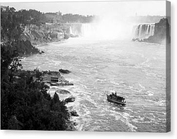 Canvas Print featuring the photograph Niagara Falls With Sightseeing Boat 1904 Vintage Photograph by A Gurmankin