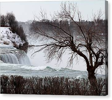 Canvas Print featuring the photograph Niagara In Winter by John Freidenberg