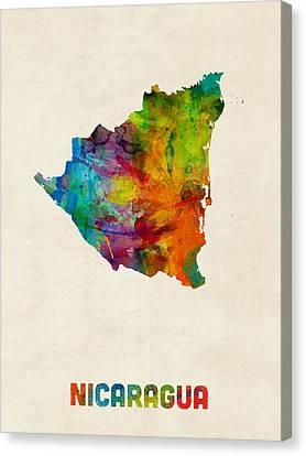 Nicaragua Watercolor Map Canvas Print by Michael Tompsett
