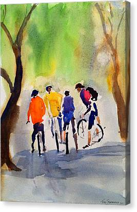Nicasio Bikers Canvas Print by Tom Simmons