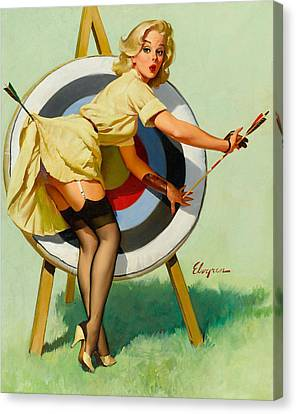 Nice Archery Shot - Retro Pinup Girl Canvas Print