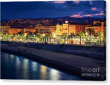 Nice By Night Canvas Print by Inge Johnsson