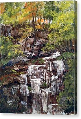 Nice Waterfall In The Forest Canvas Print by Dorothy Maier